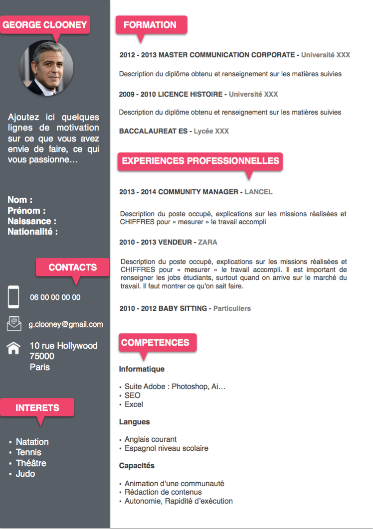 word exemple de cv gratuit