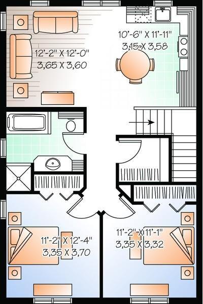 1 042 Square Feet 2 Bedrooms 1 Bathroom 034 00893 Garage Apartment Plans Apartment Plans Floor Plan Layout