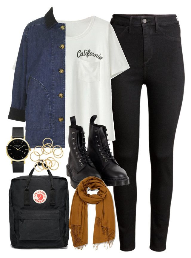 """Outfit of the day"" by ferned on Polyvore featuring H&M, Topshop, Fjällräven, Dr. Martens and Emporio Armani"