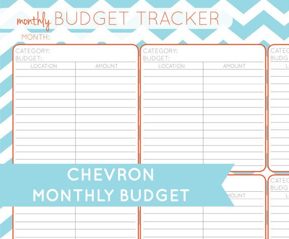 Chevron Monthly Budget Printable PDF by CitrusPaperCo on Etsy, $300