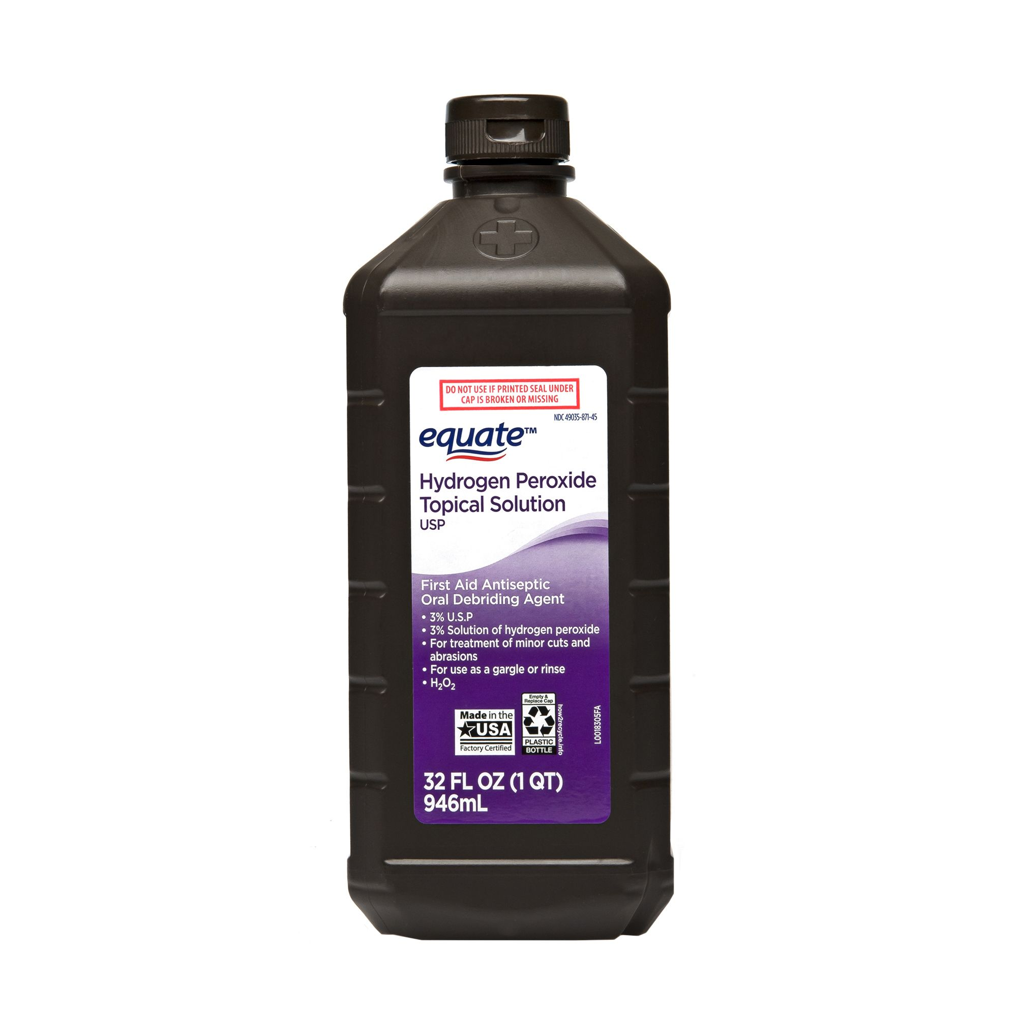 4 Pack Equate 3 Hydrogen Peroxide Topical Solution 32 Fl Oz Walmart Com In 2020 Remedy Kit Hydrogen Peroxide Ear Wax
