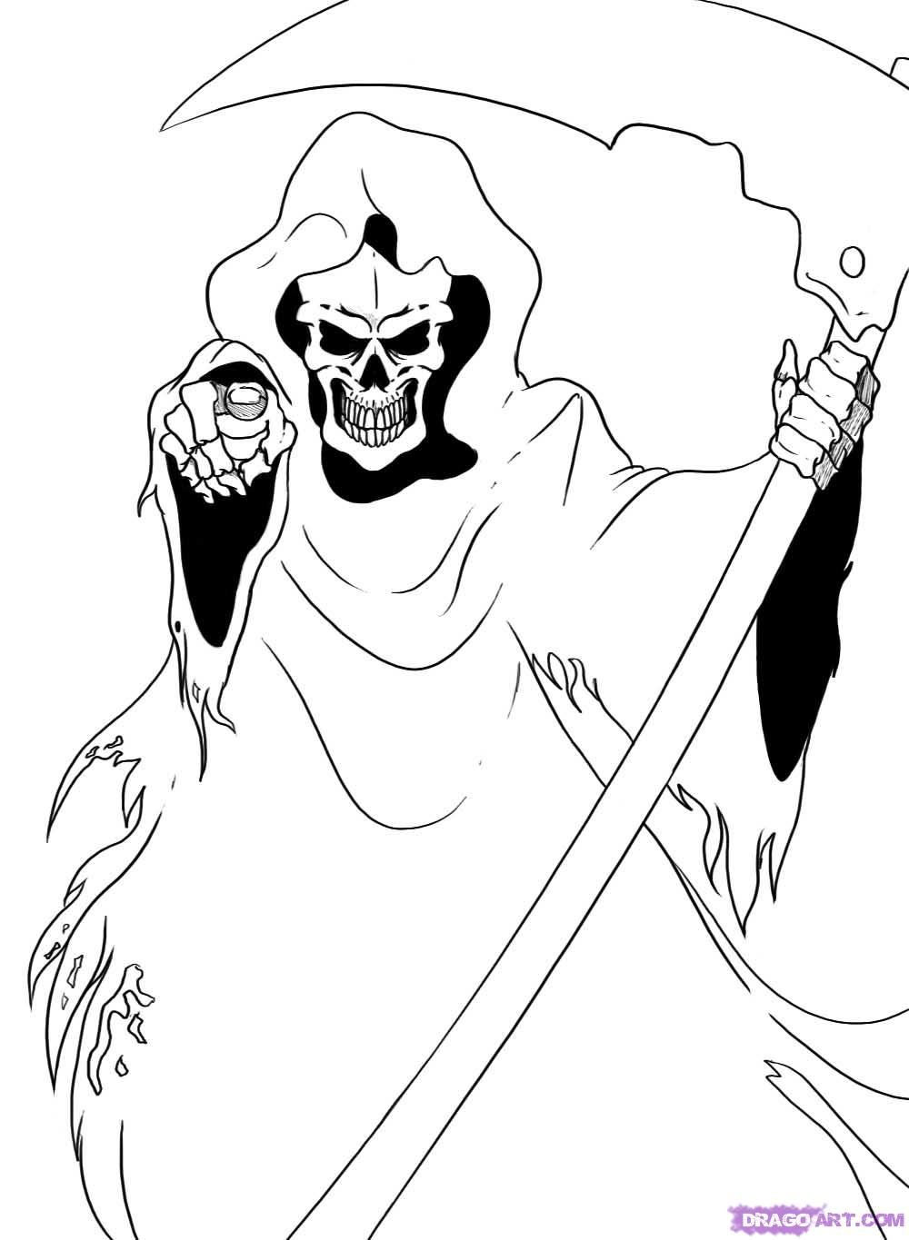 holloween easy to draw simple things drawings grim reaper mellos - How To Draw Halloween Decorations