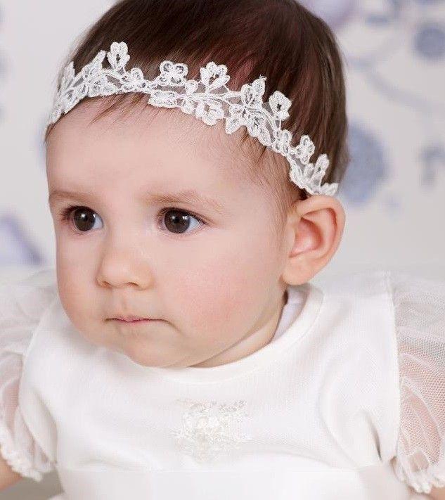 75750f5c2c04c Bandeaux Cheveux Dentelle Petite Fille - Pour Robe de Bébé Cortège Mariage  - Baptême - Cérémonie Coloris Ivoire