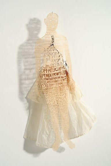 "Valerie Hammond, ""Shadow Drawing - Girl with Skirt"", 2009, ink drawing and digital laser-cut paper, 36"" x 21"" x 8"""