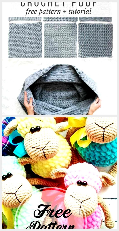 Free Crochet Pouf Pattern - modern, textured + economical!,  #Crochet #economical #Free #modern #PATTERN #Pouf #Textured
