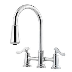 Pfister Ashfield 2 Handle Bridge Kitchen Faucet With Pull Down Sprayer In Polished Chrome Gt531ypc The Home Depot Kitchen Faucet Faucet Kitchen Sink Faucets 2 handle kitchen faucet with pull down sprayer