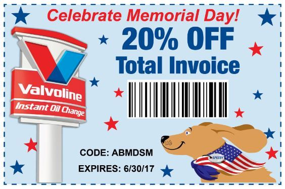 Get Ready For Your Memorial Day Travels With An Oil Change From Valvoline Instant Oil Change Save With This 20 Off Invoice Oil Oil Change Memorial Day Change