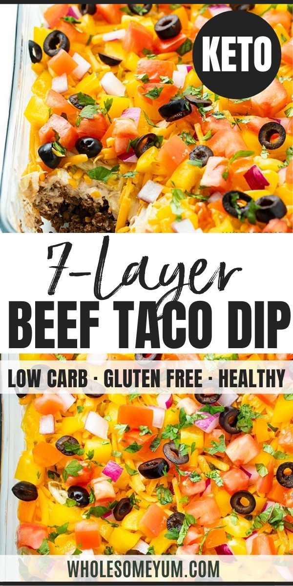 Keto 7 Layer Taco Dip Recipe with Meat