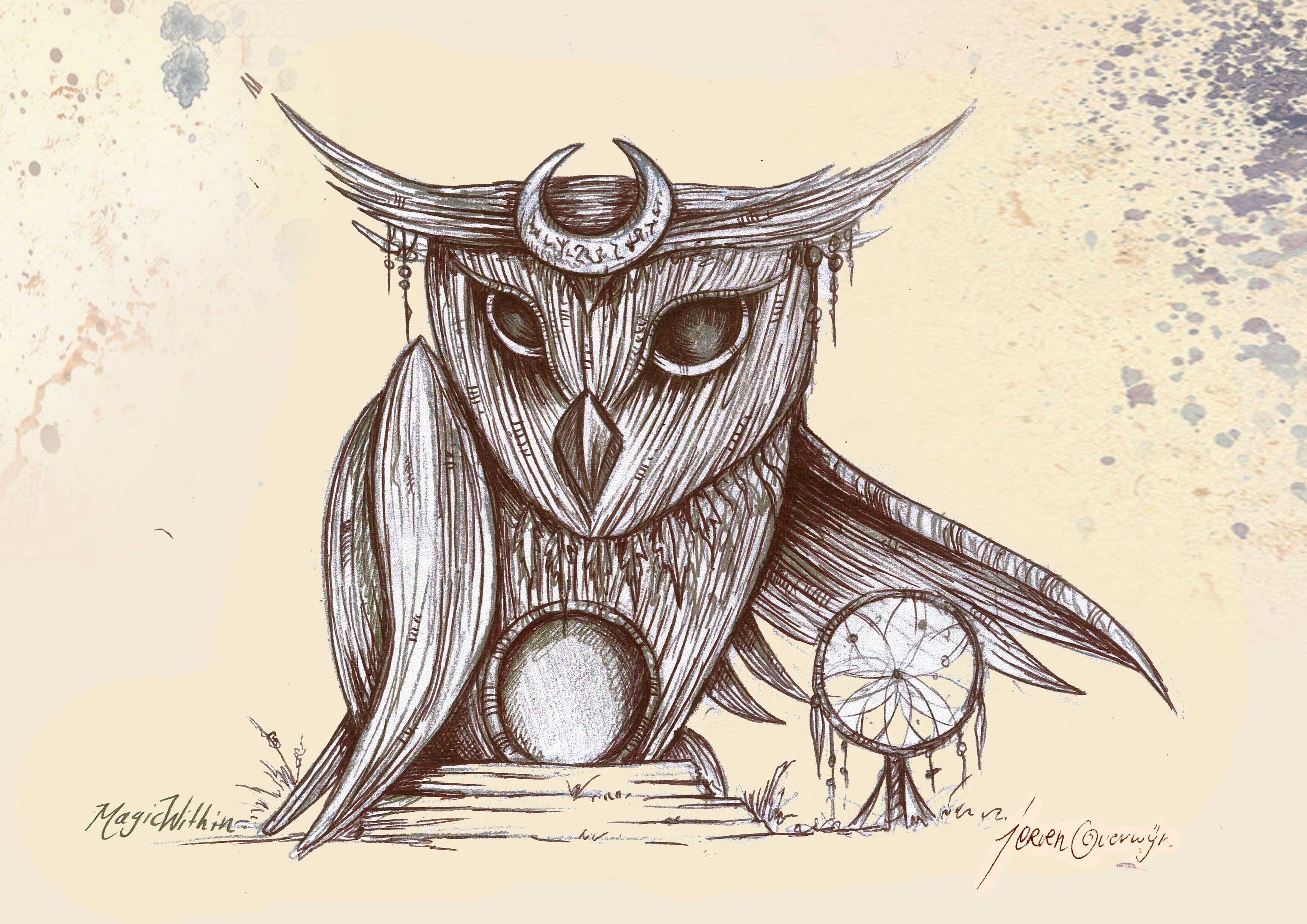 Owl greeting card set welsh artist jen delyth celtic art studio - Wicker Owl Castlefest 2014 Picture Drawn By Jeroen Overwijn