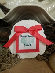 Beach Wedding Small Arrowhead Sand Dollar Table Assignements/ Escort Cards/Favors Gift w Guest Name Table Number, Satin Ribbon, Colored Card