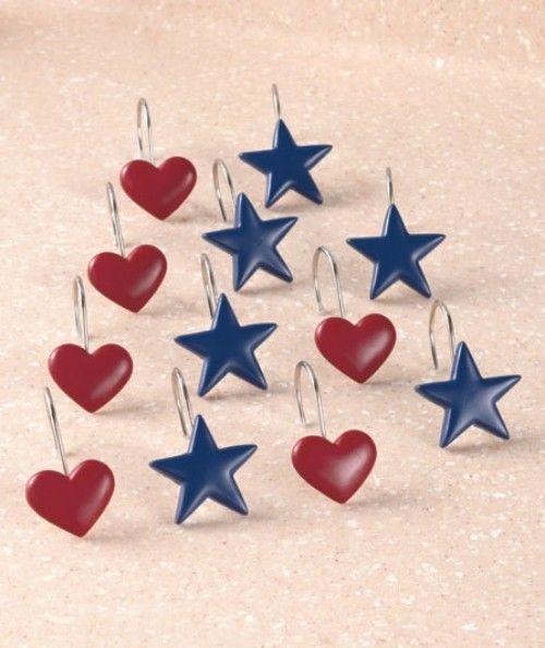 Americana Shower Curtain Rings Hooks Bathroom Accessories Stars Hearts Bath Tub