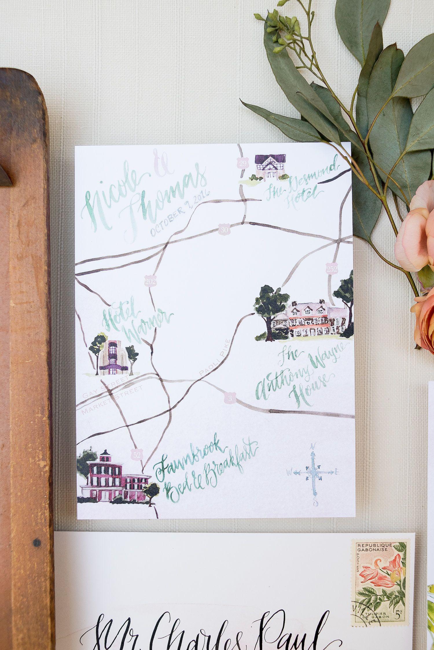 Custom Wedding venue watercolor painting, green and blush wedding ...