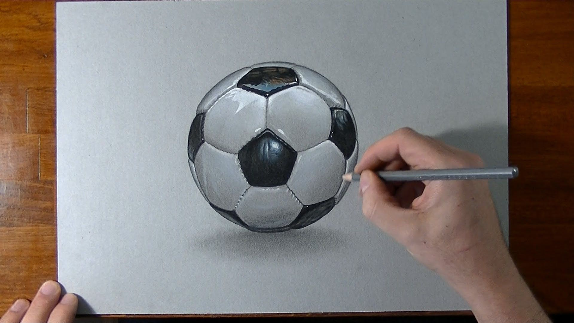 How i draw a football soccer ball realistic drawing