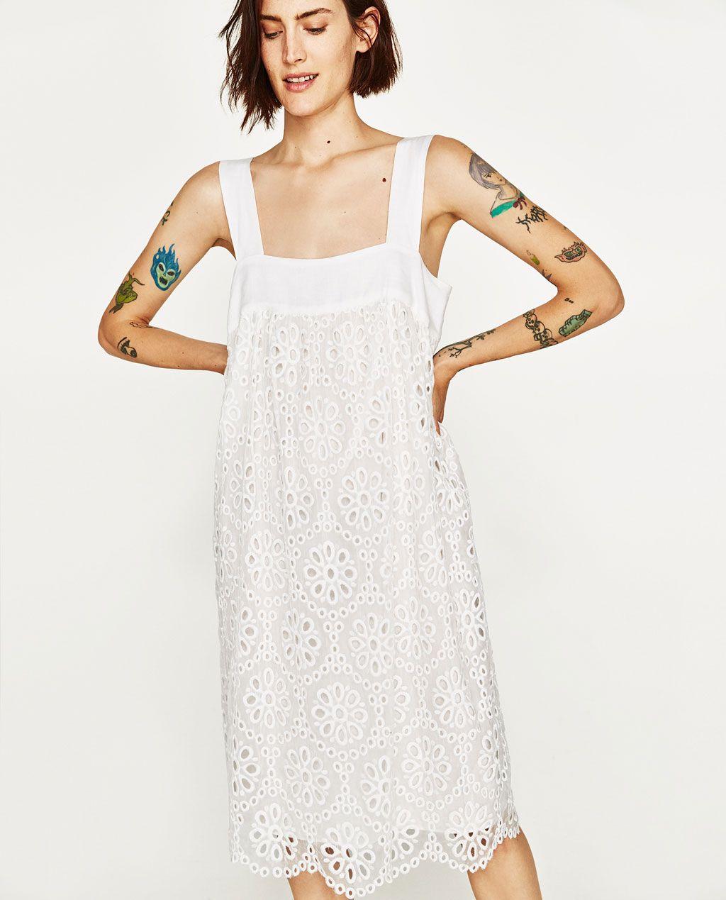 EMBROIDERED EYELET MIDI DRESS | Dresses | Pinterest