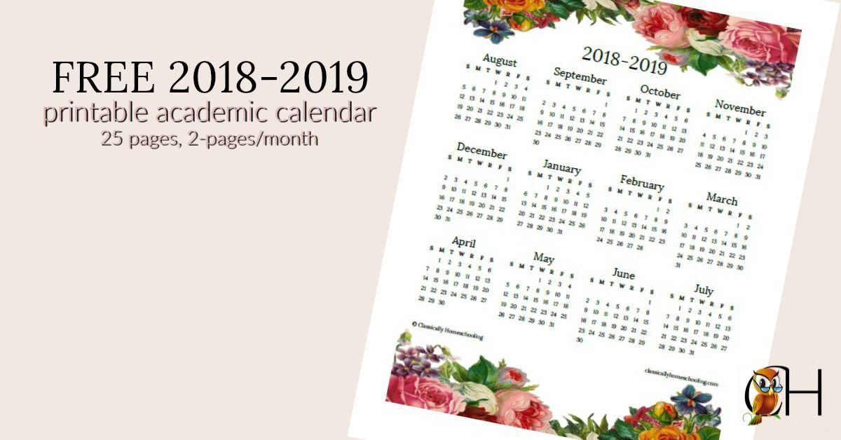 FREE 2018-2019 Printable Academic Calendar Blogging Homeschoolers