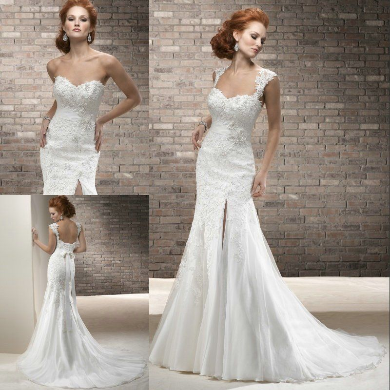 Free shipping fabulous appliqued sweetheart cap sleeve wedding dress ...