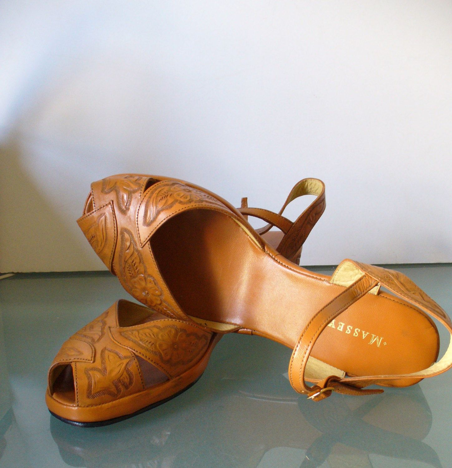 6a22669911635 Vintage Mexican Tooled Leather Wedge Heel Sandals Size 12US ...