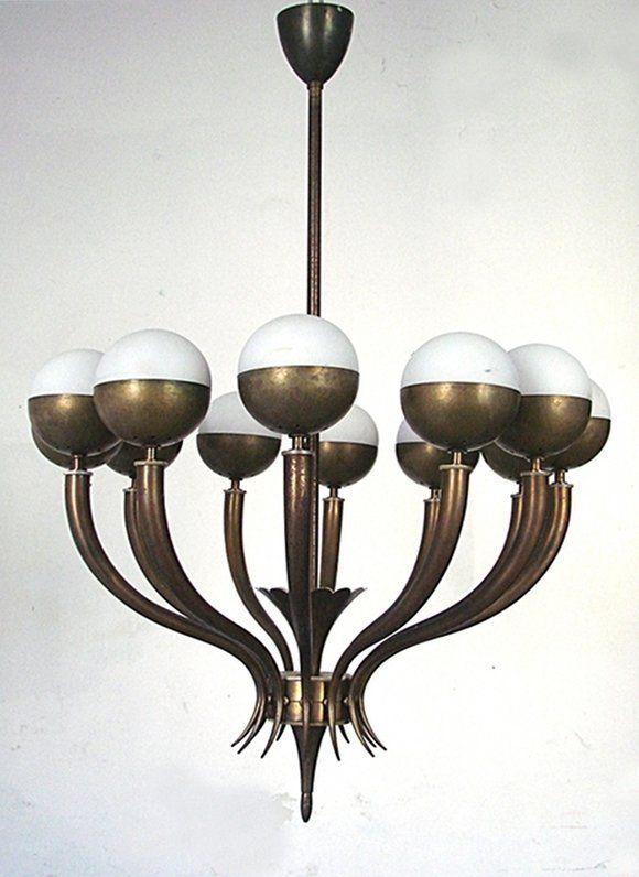 Italian Manufacture, chandelier ,c 1950s #GISSLER #interiordesign study chandelier