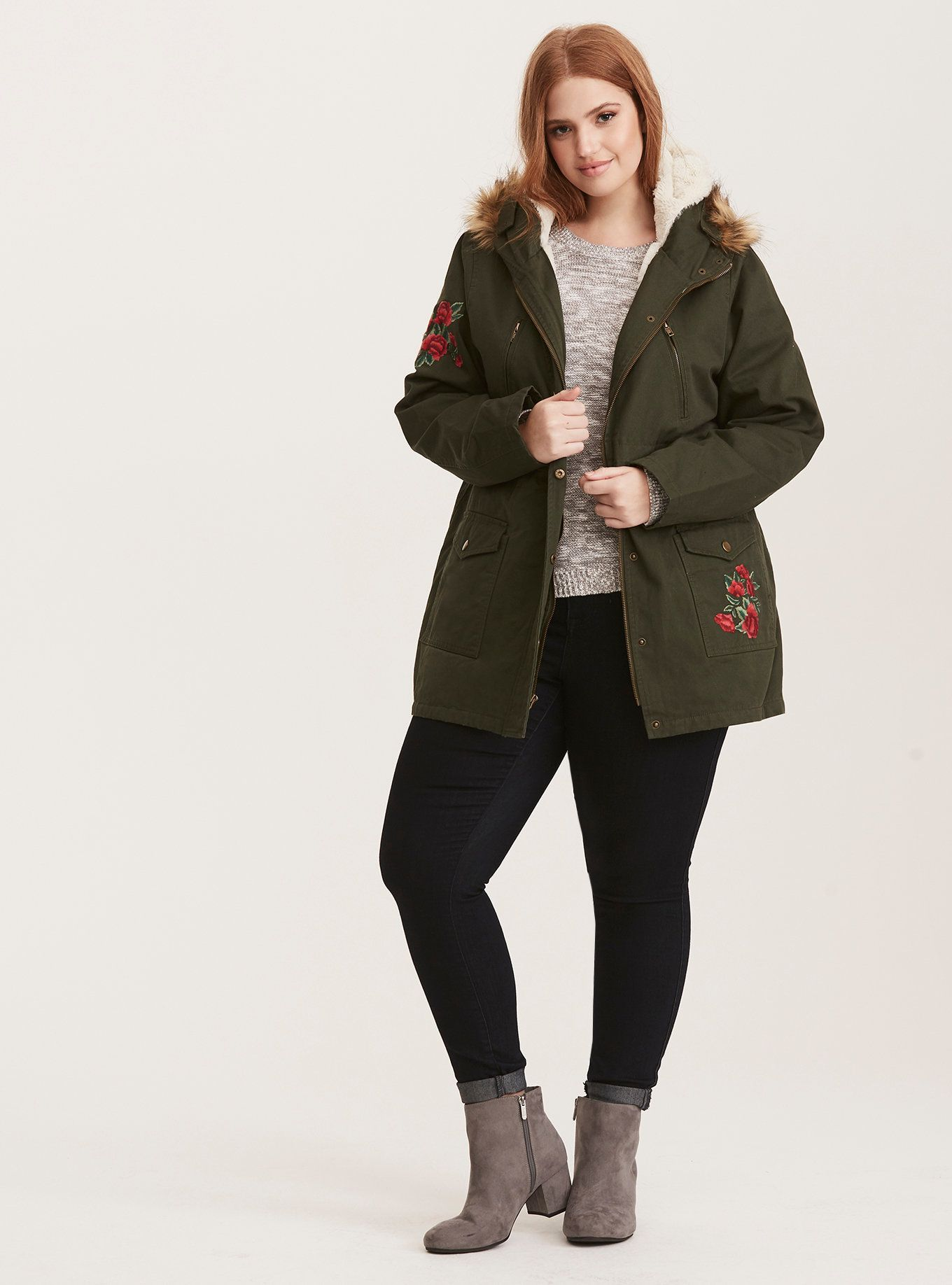 Embroidered Sherpa Lined Anorak Outerwear Jacket Flattering Plus Size Dresses Fashion Working Mom Outfits [ 1836 x 1360 Pixel ]