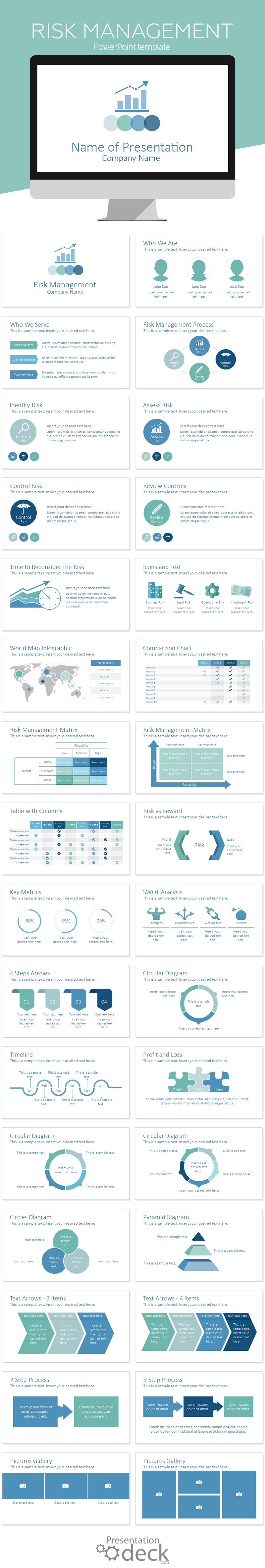 risk management powerpoint template | risk management, design, Presentation templates