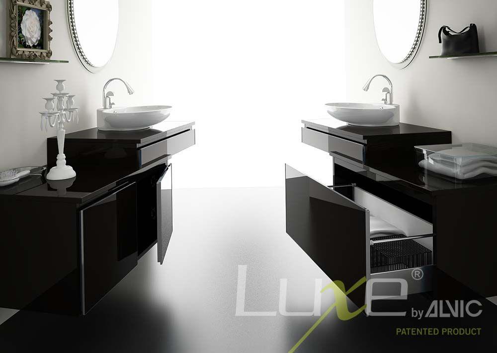 Muebles de ba o en blanco y negro alto brillo tendencia - Muebles altos de bano ...