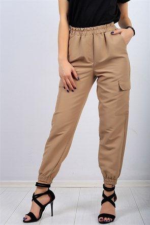 Lastik Bilek Cep Detay Krem Bayan Pantolon 9738b Pantolon Kadin Pantolonlari Spor Giyim