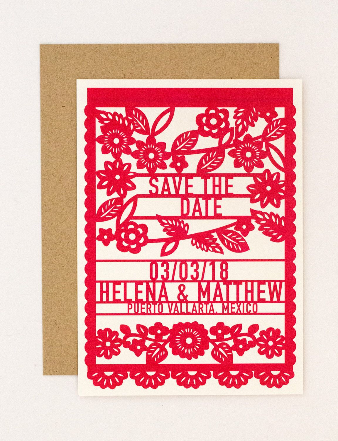 Floral Destination Wedding Save the Date – Colorful Mexican Fiesta ...