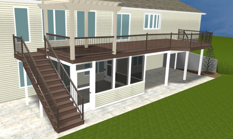 back yard under deck poured concrete patio plans elevated deck with under deck patio enclosure renderings by archadeck - Deck Vs Patio