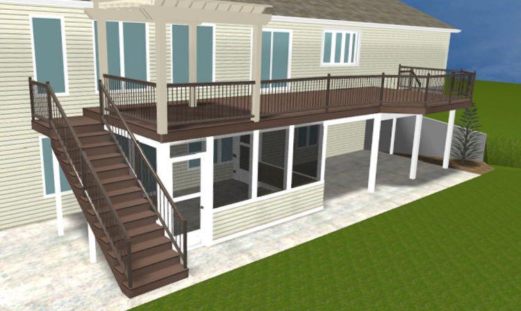 Under Deck Screen Enclosures | Elevated Deck With Under Deck Patio  Enclosure, Renderings By Archadeck