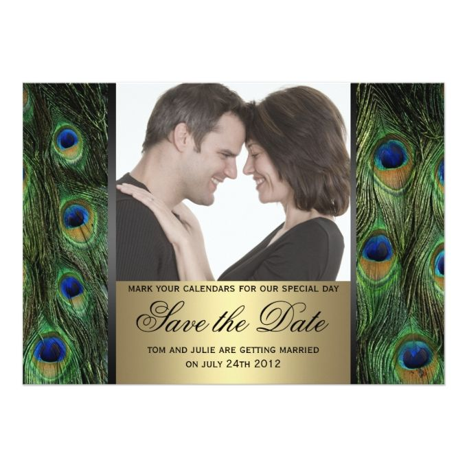 Peacock Save the Date Photo 5x7 Paper Invitation Card