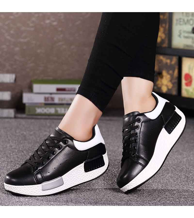 Black white leather lace up rocker bottom shoe sneaker