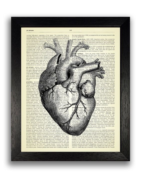 Gothic Wall Decor black heart anatomy poster art, gothic wall decor, dark goth art