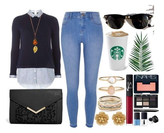 """""""Untitled #764"""" by overdue22 on Polyvore featuring Dorothy Perkins, River Island, ASOS, Miriam Haskell, Kendra Scott, Accessorize, NARS Cosmetics, Ray-Ban, Nika and bup"""