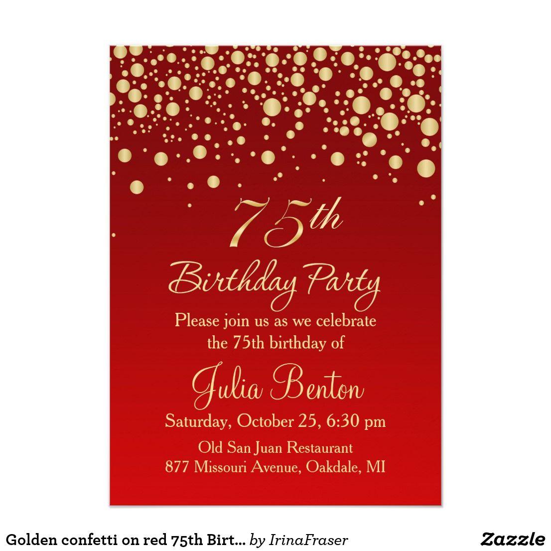 Golden confetti on red 75th Birthday Invitation Golden round ...