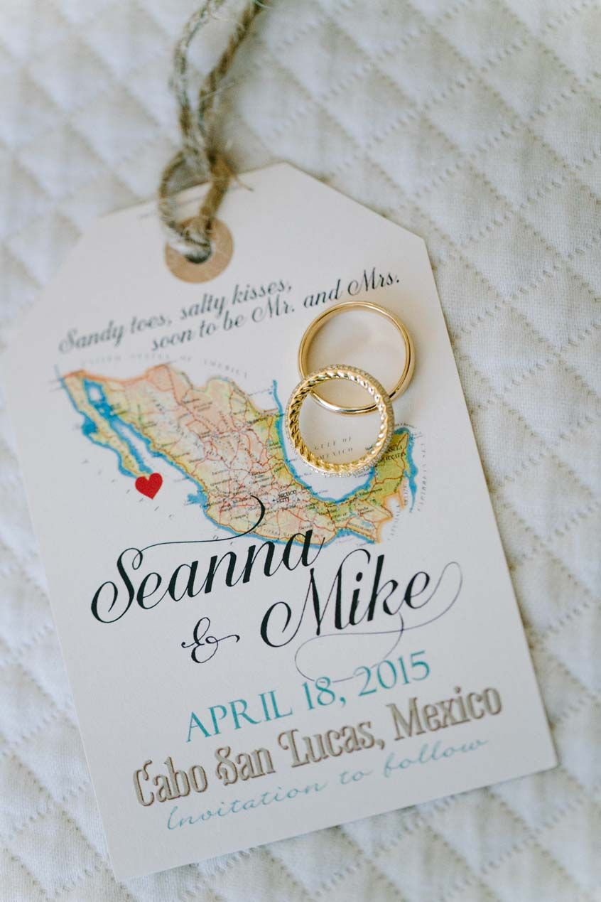 destination wedding invitation rsvp date%0A Mexico travel wedding luggage tag Save the Date