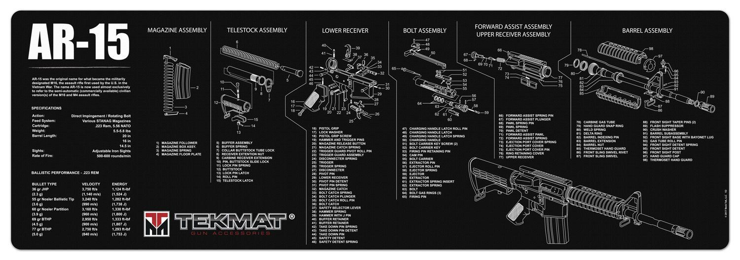 tekmat ar15 cleaning mat 12 x 36 thick durable waterproof long gun cleaning mat with parts diagram and instructions armorers bench mat black want  [ 1500 x 527 Pixel ]