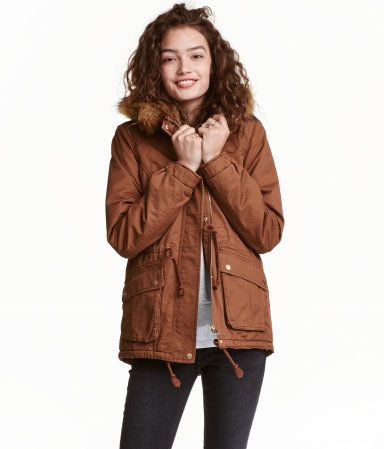 Rust brown. Lightly padded parka in cotton twill with pile-lined ...
