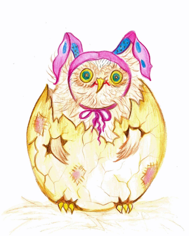 Title ,The new arrival,Baby owlet Print,Animal Art,Cracked Egg Art ...