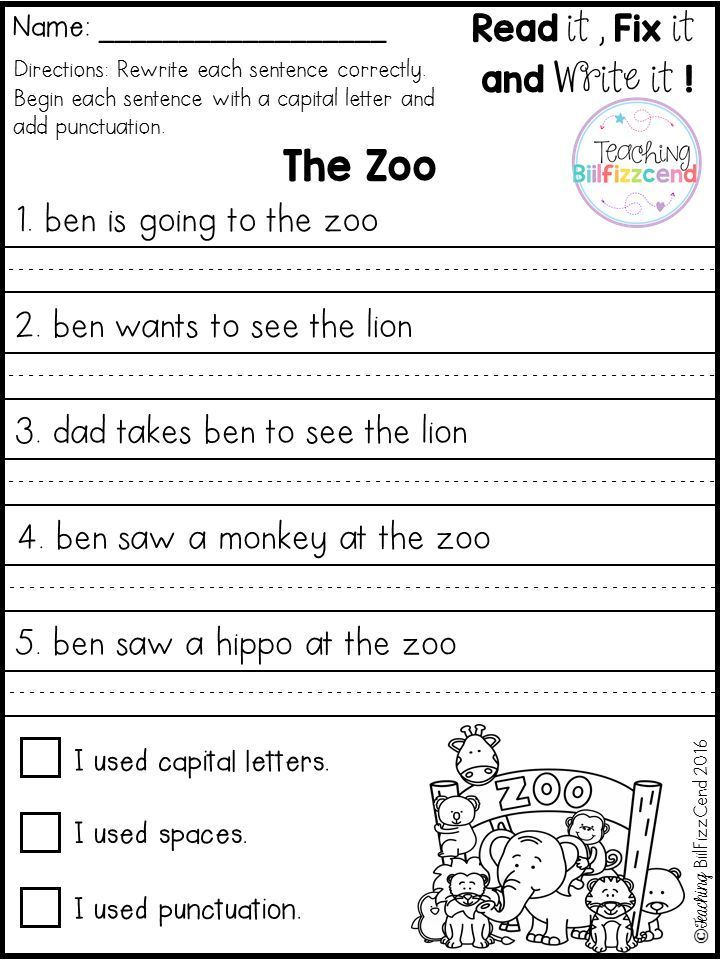 FREE Fix It Up Sentences | 1st grade writing worksheets ...