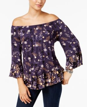 06adf8ad17bb1b Style   Co Petite Printed Off-The-Shoulder Top