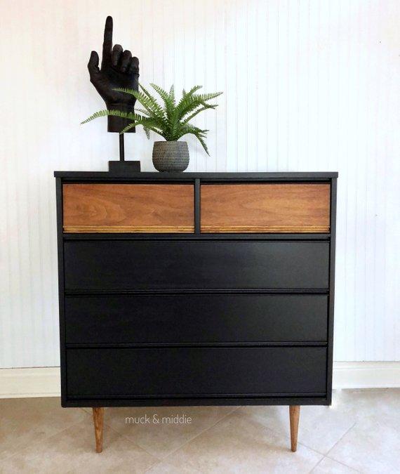 Mid Century Modern Black Mcm Wood Grain Drawers 5 Drawer Etsy In 2020 Painted Bedroom Furniture Furniture Makeover Black Bedroom Furniture