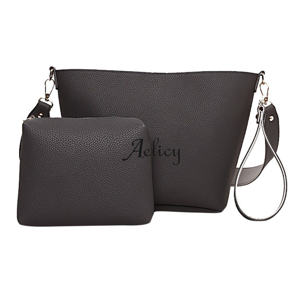 Aelicy Girl messenger Bag Fashion Two Set Ladies Handbag Zipper women Shoulder  Bag +Tote Purse e75ee3aa3ca0b