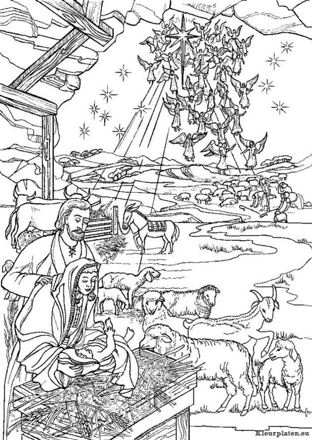 bijbel kerstverhaal kleurplaat kleurplaten bijbel