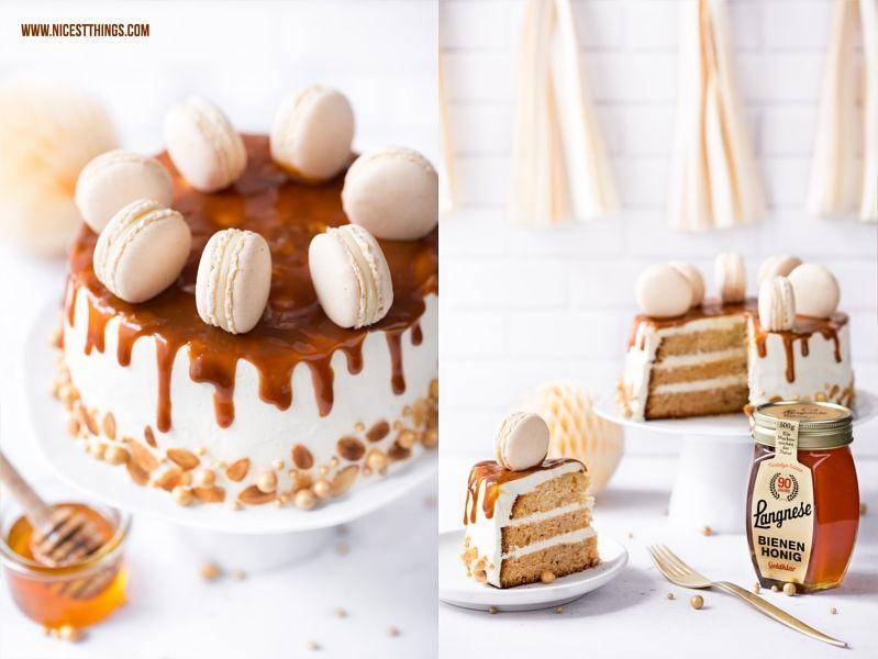 Honigtorte mit Mandeln, Dulce De Leche und Honig Macarons Rezept