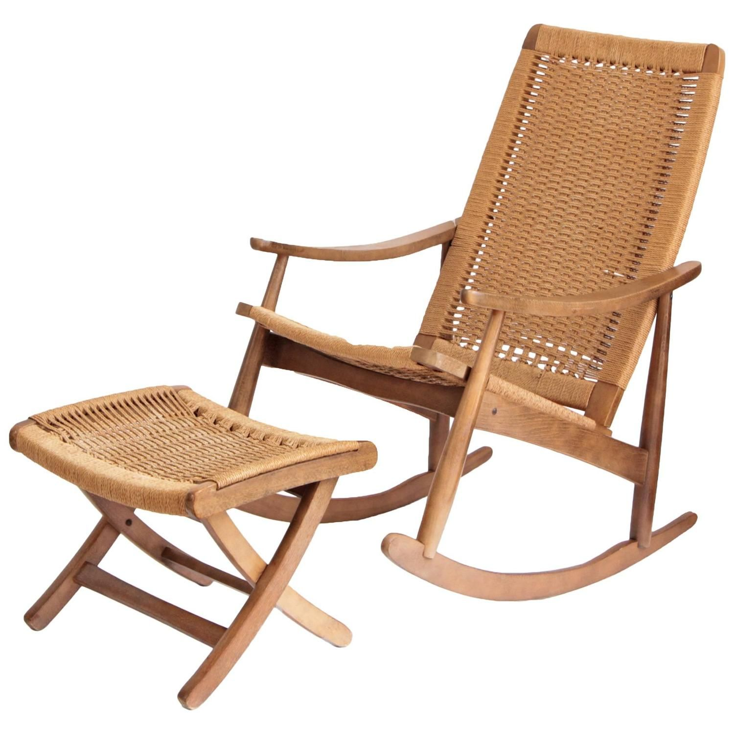 Woven Rope Mid Century Modern Rocking Chair and Ottoman