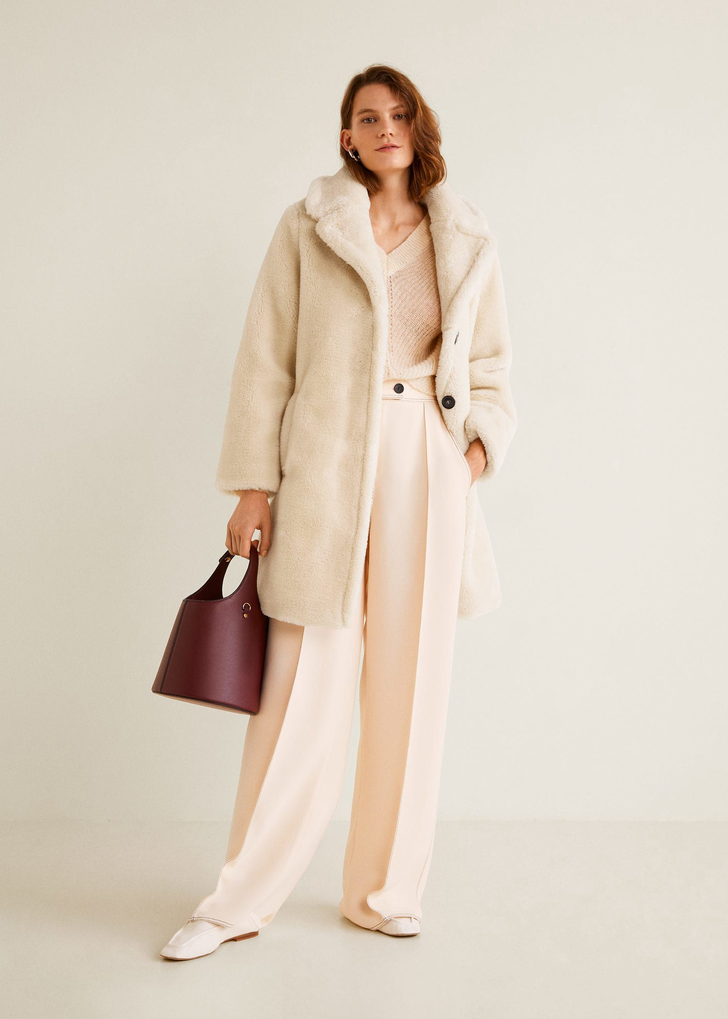 Mango Lapels Faux Fur Coat - Light Pastel Grey S   Products in 2019 ... 20264b723dbb