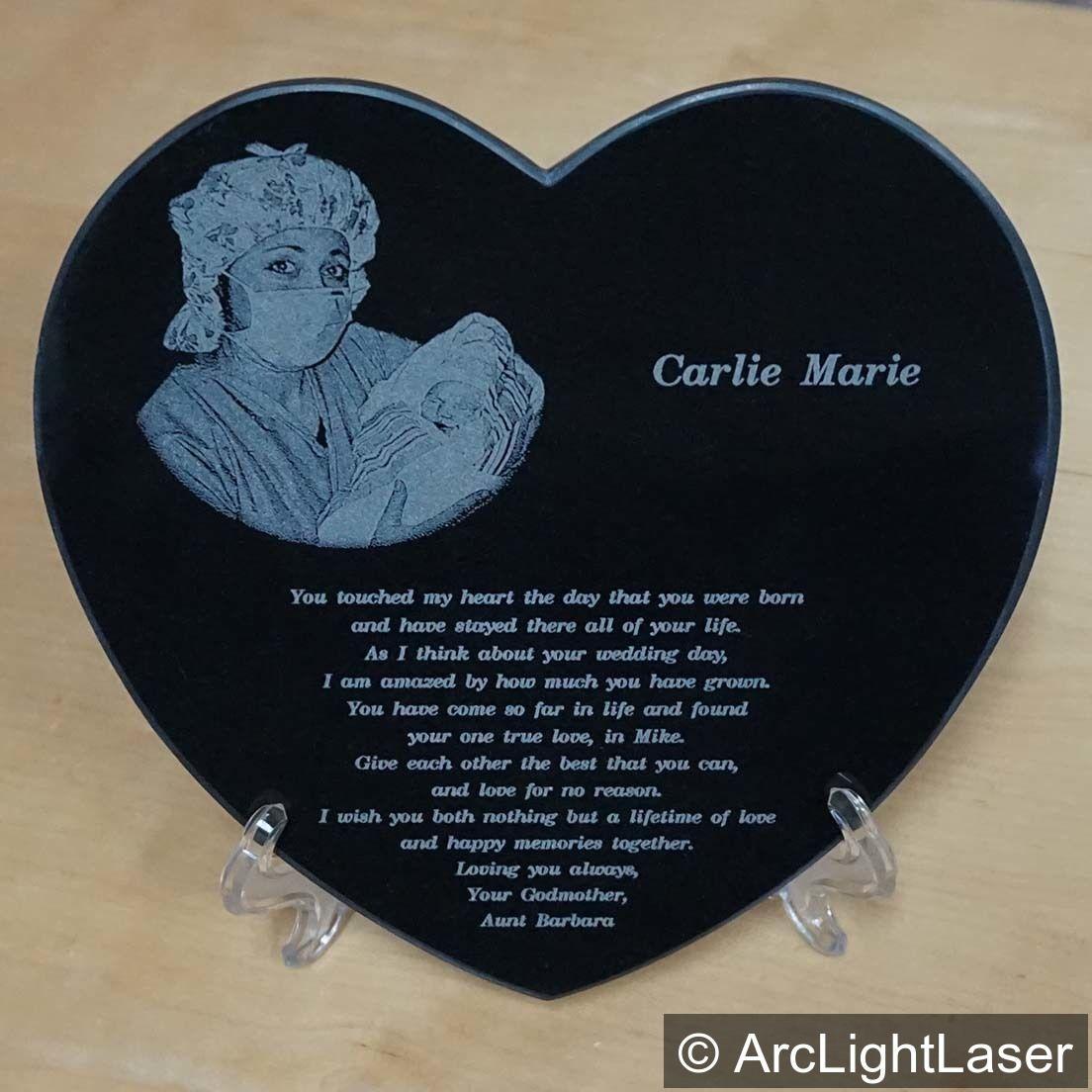 Photo Heart Black Marble Heart Laser Engraved Unique Etsy Unique Valentines Day Gifts Unique Valentines Photo Heart