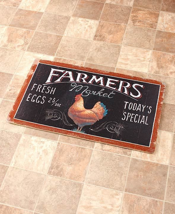 Kitchen Floor Mat Farmers Market Rooster Novelty Cushioned