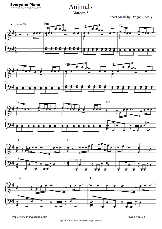 Free Animals Maroon 5 Piano Sheet Music Preview 1 Free Piano Sheet Music Piano Chords Maroon 5 Music Letters Sheet Music