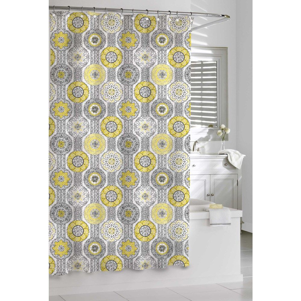 Beautiful mosaic shower curtain in yellow and grey. | Products ...